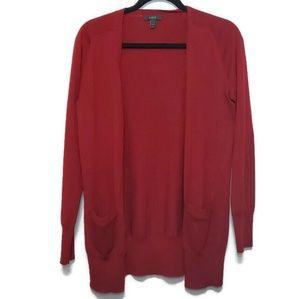 J. Crew merino wool classic long cardigan red